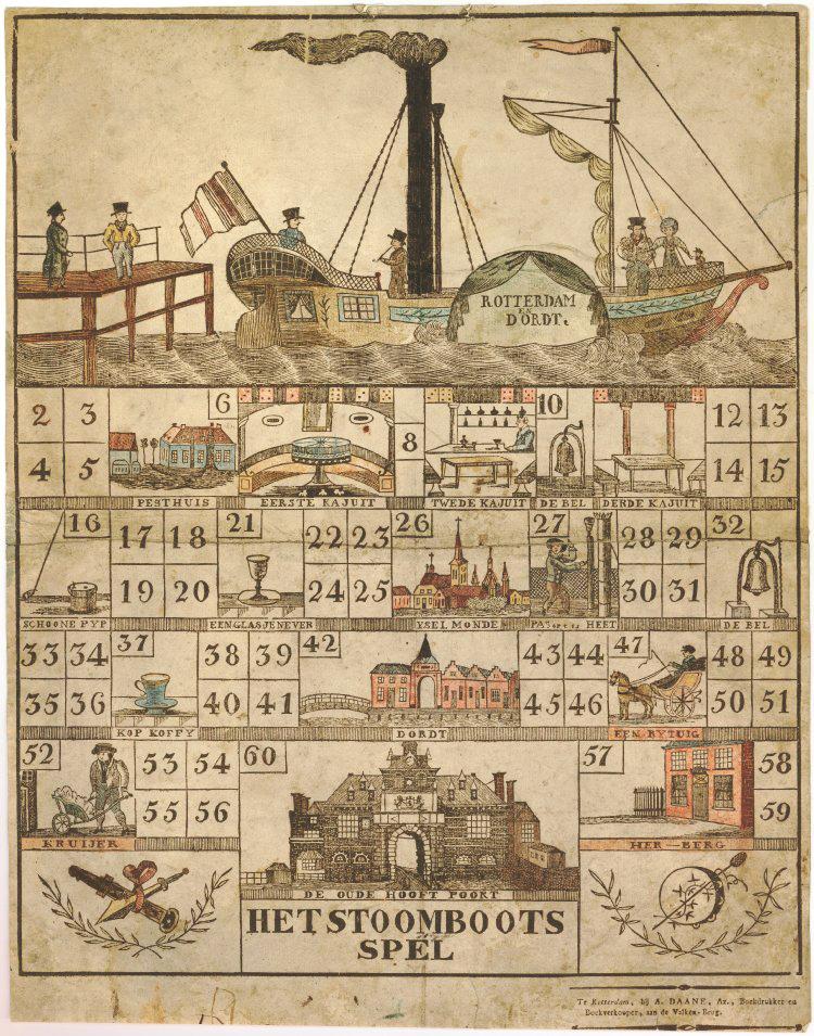 """Игра """"Пароходы"""" напечатана в Роттердаме в начале девятнадцатого века."""