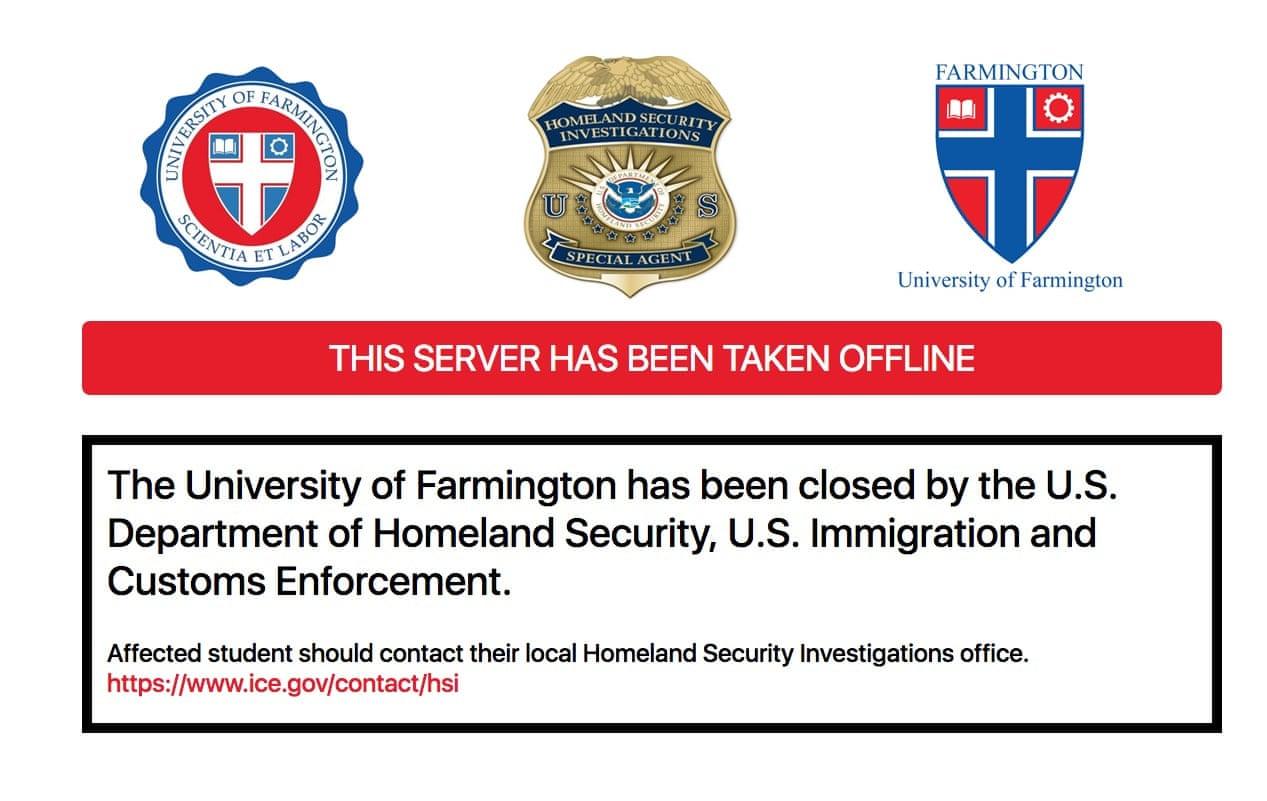 Сайт Фармингтонского университета был закрыт иммиграционным и таможенным управлением США. Скриншот.