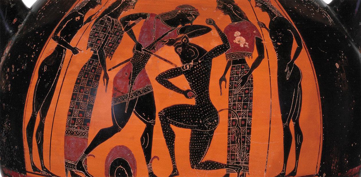 Фрагмент древнегреческой терракотовой амфоры (ок. 540–530 до н. э.), на которой изображен Тесей, убивающий Минотавра во дворце царя Миноса на о. Крит. Нью-Йорк: Музей искусств Метрополитен. Public Domain.