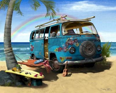Volkswagen-VW-Hippie-Flower-Van-Art-Print-Poster