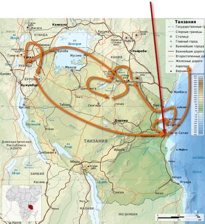 Живая параллель с Андреем Теслиновым, Африка, Карта маршрута