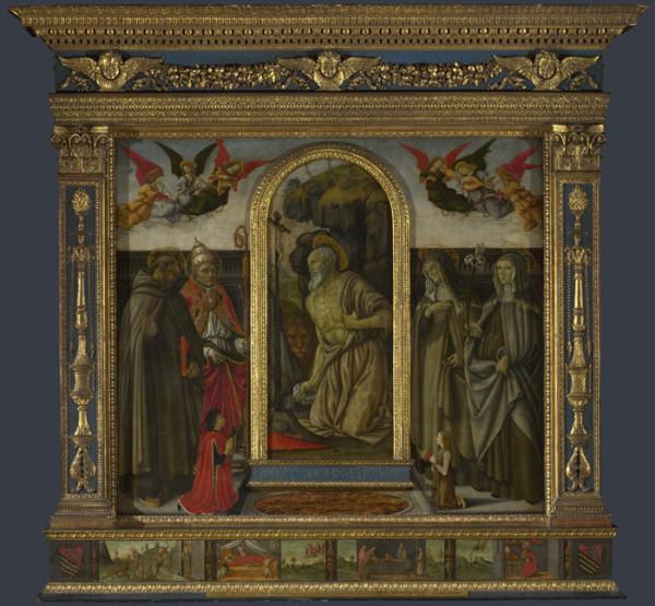 Франческо Боттичини Икона святого Иеронима со святыми и донаторами целая лондон мал.jpg