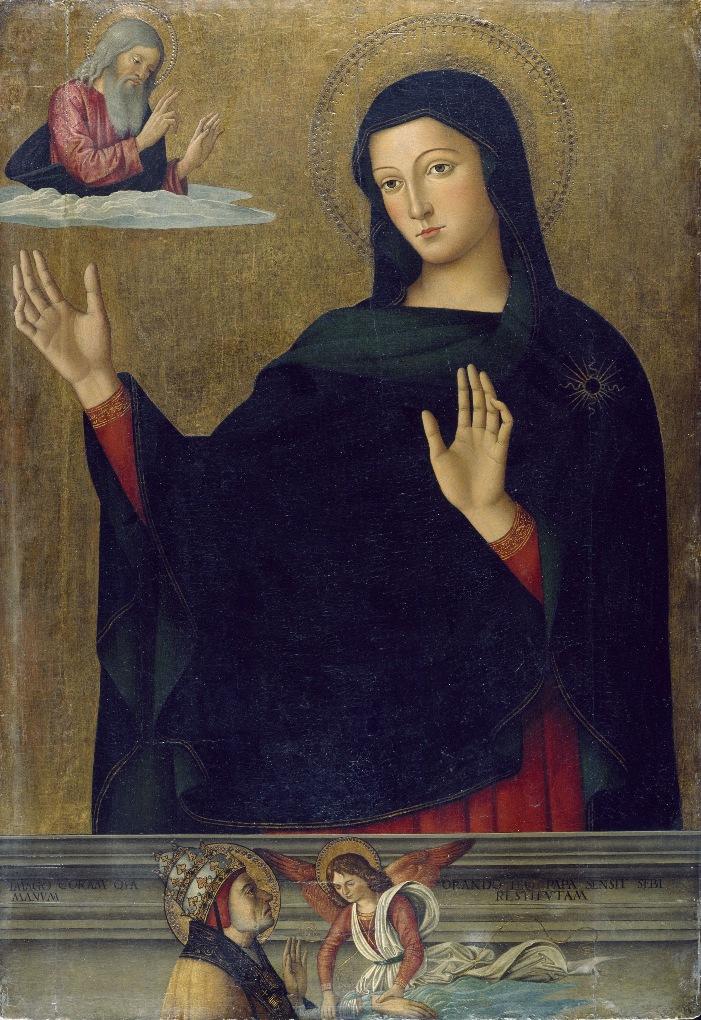 Антониаццо Романо Мадонна просит бога исцелить руку Папе Льву I ирл мал.jpg