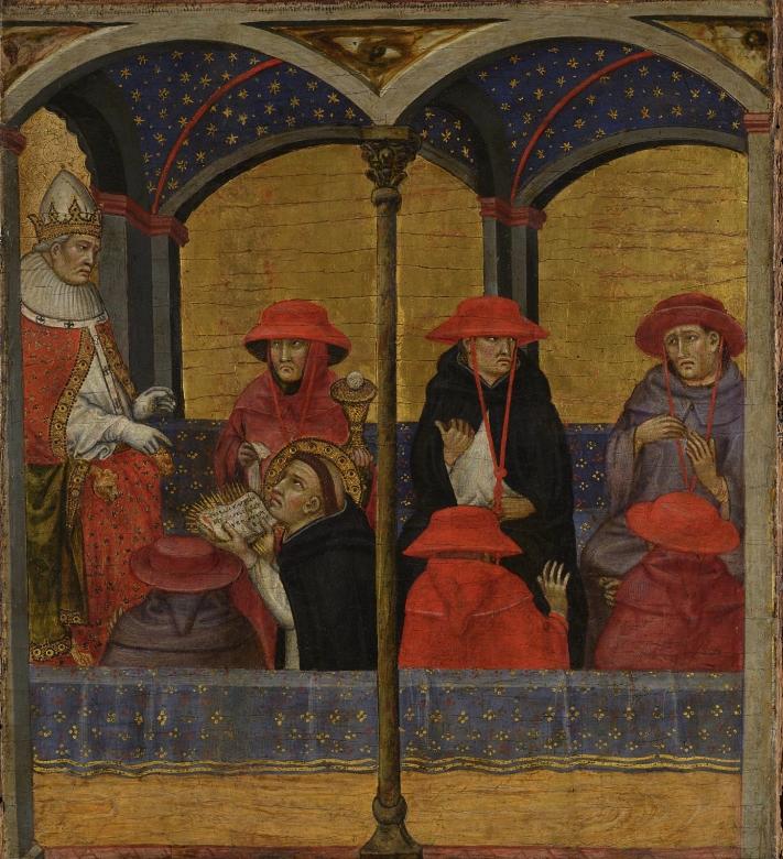 Таддео ди Бартоло Фома Аквинский преподносит папе Урбану IV чинопоследование праздника Тела и Крови Христовых филадельфия мал.jpg
