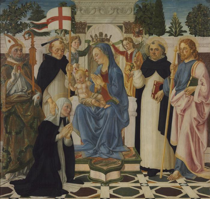 Андреа дель Верроккьо Мадонна с младенцем, святыми и ангелами будапешт мал.jpg