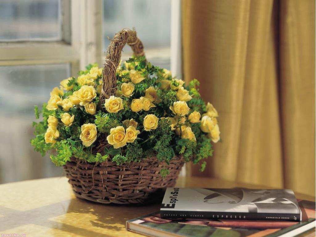 корзина солнечных цветов