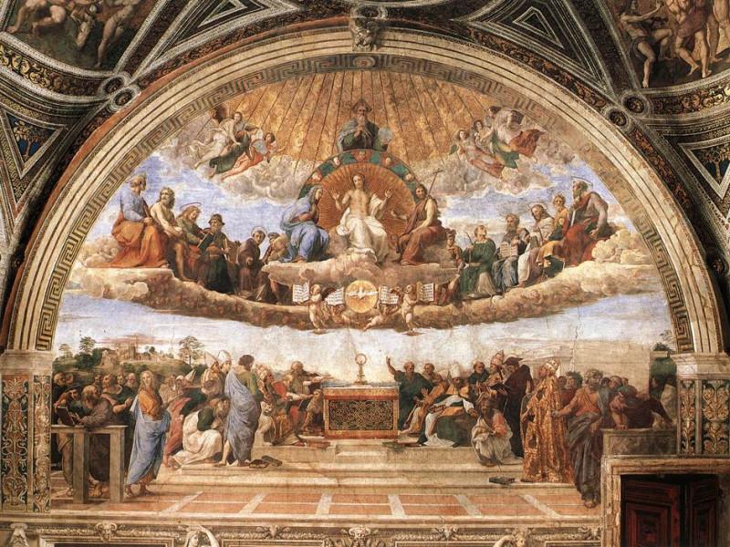 Raffaello - Stanze Vaticane - Disputation of the Holy Sacrament