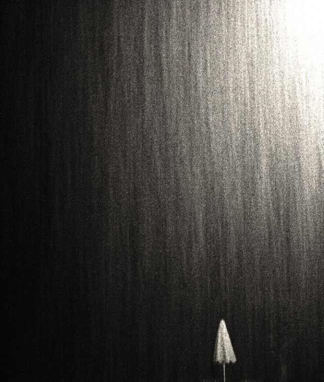 Night rain on the beach