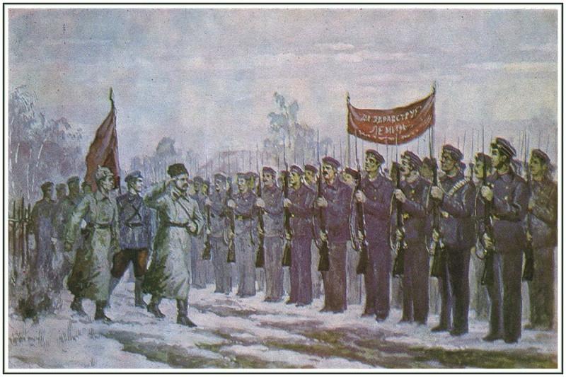 М.В. Фрунзе обходит строй моряков на Восточном фронте