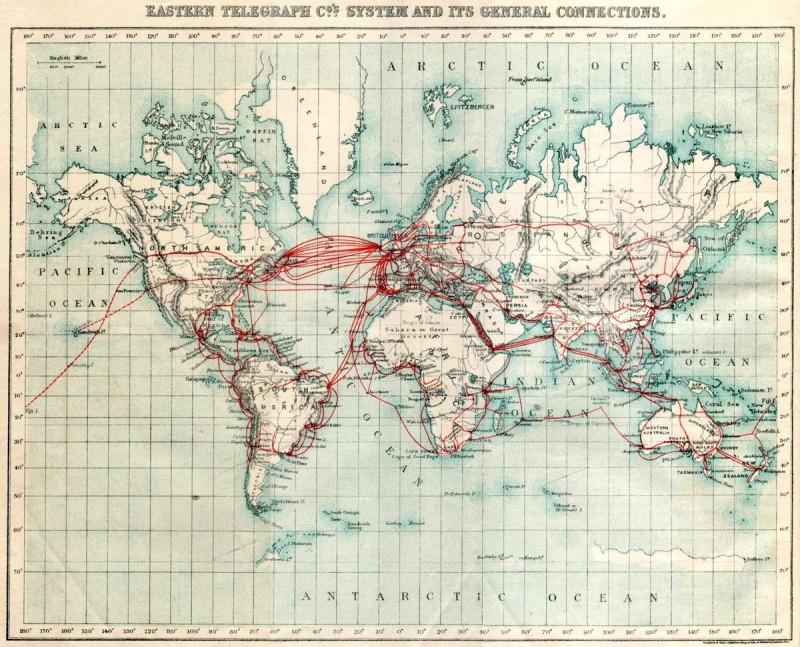 Карта подводных кабелей 1901 года