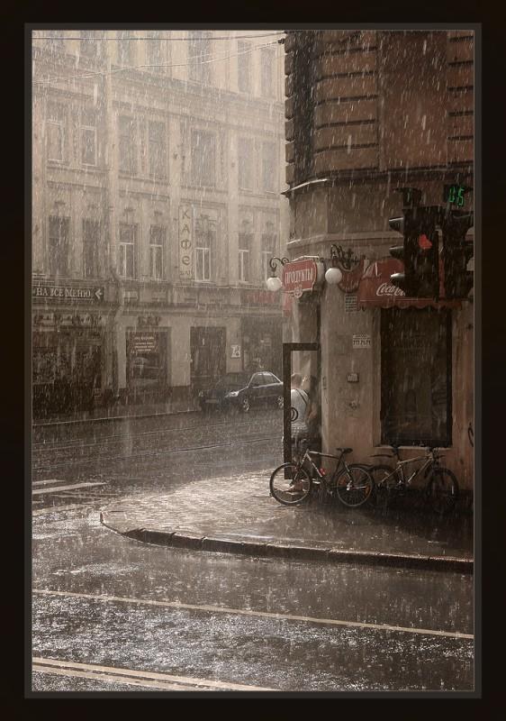 пережидая дождик