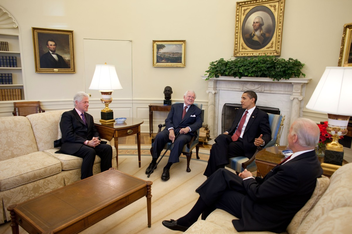 former President Bill Clinton, Sen. Ted Kennedy, President Barack Obama and Vice President Joe Biden
