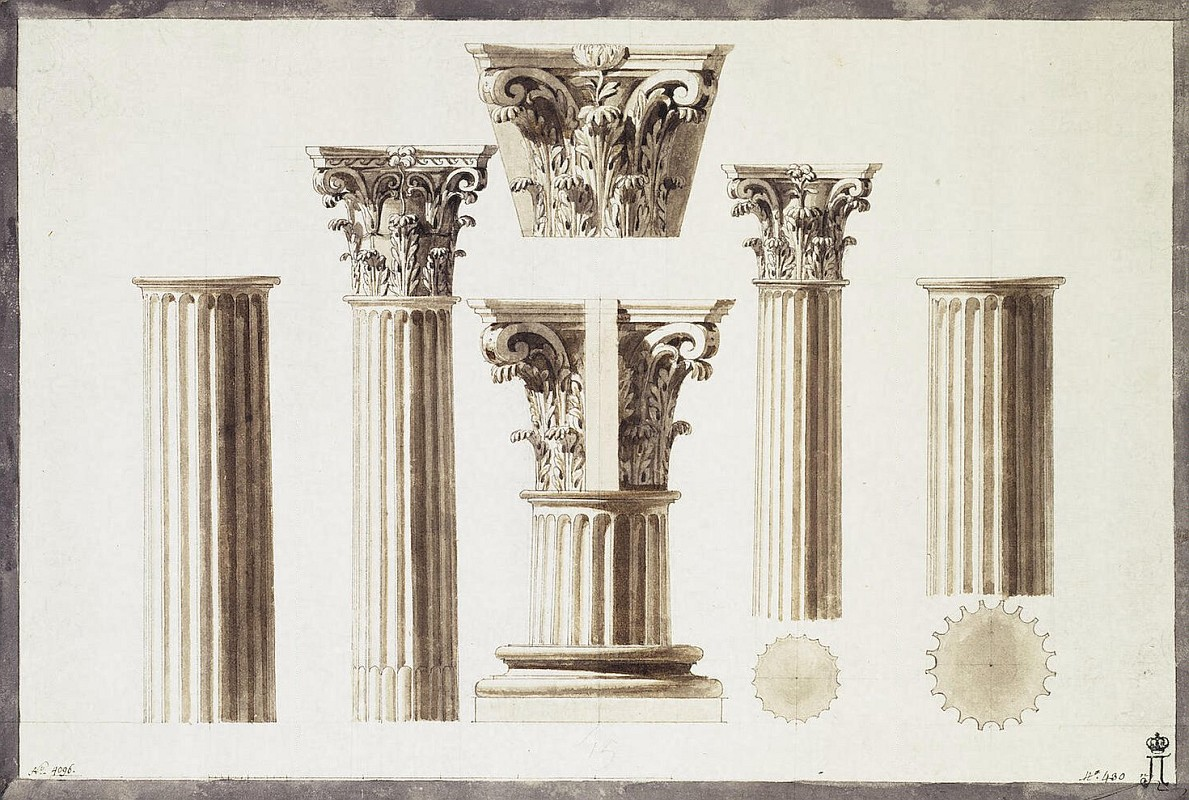Жан-Пьер-Луи Лоран Уэль - Draving of a Corinthian Column with a Capital and a Base