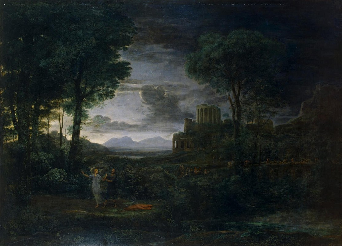 Клод Лоррен - Landscape with Jacob Wrestling with the Angel (Night)
