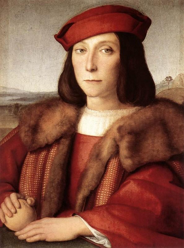 Рафаэль Санти  - Портрет юноши с яблоком. 1504-1505 гг.