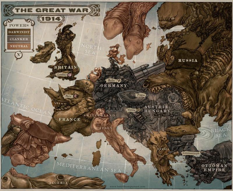 Карикатурная карта Европы 1914