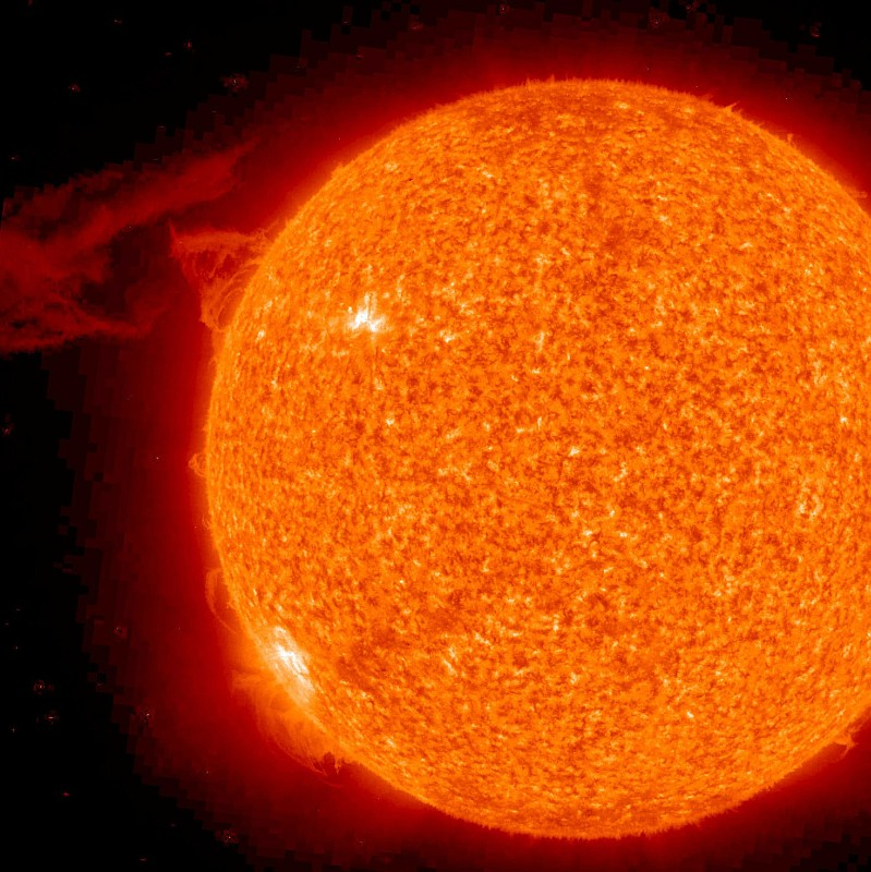 A Solar Prominence Erupts