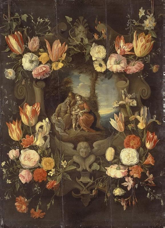 Brueghel Jan II - Holy Family Framed with Flowers
