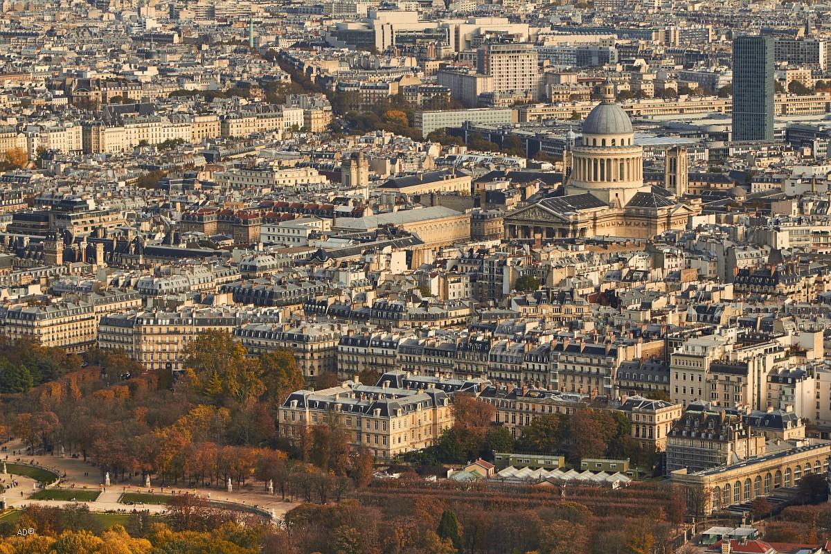 Париж 2018 — Виды с башни Монпарнас, крупные планы, Дом инвалидов и Пантеон