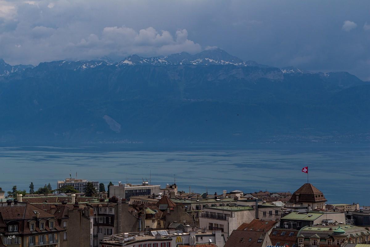 Женева - Лозанна, Виды с Кафедрального собора Лозанны - Альпы