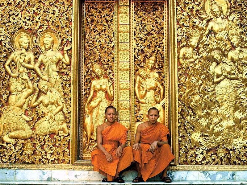 Doors of Wat Aham Temple, Luang Prabang, Laos