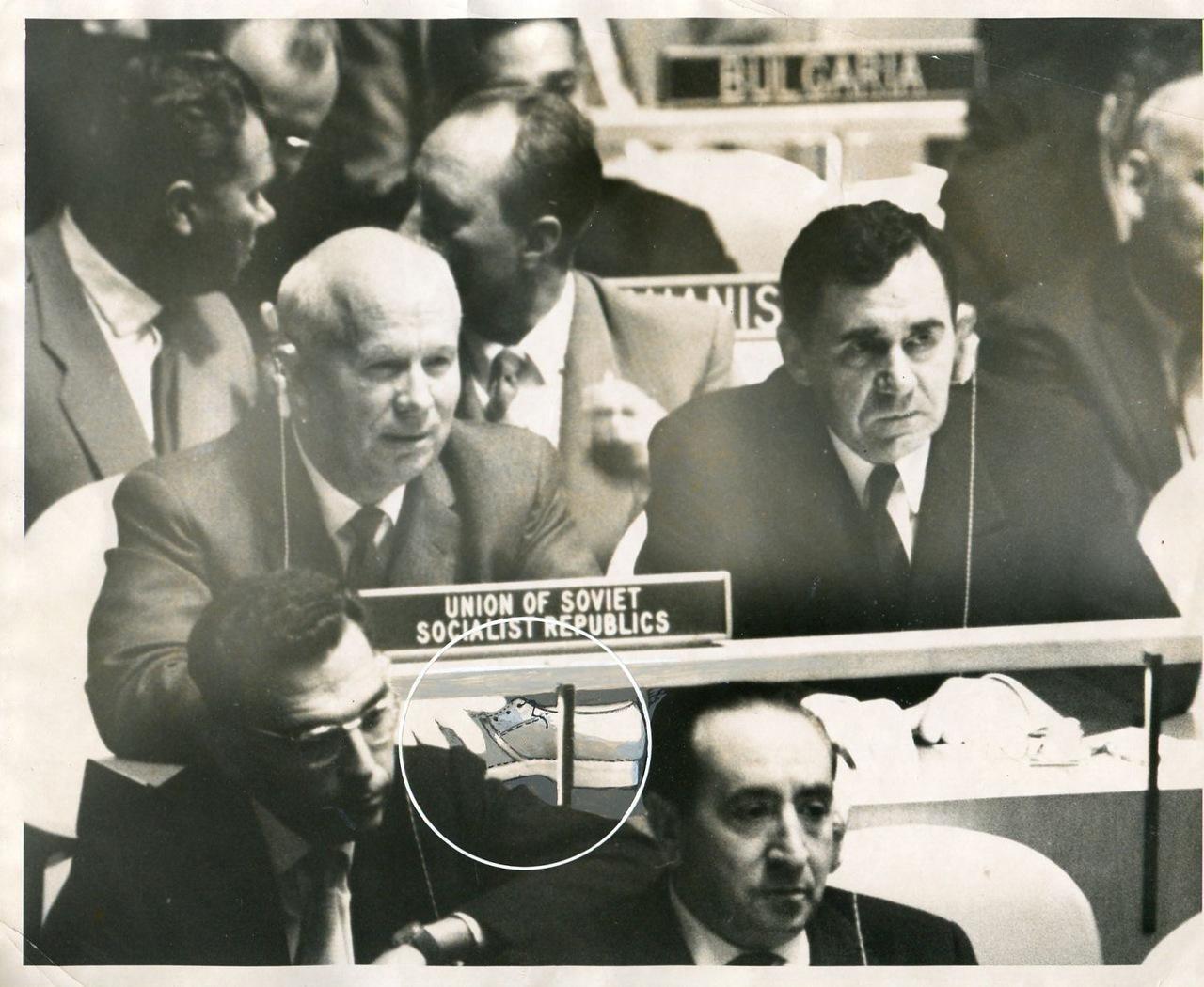Н. С. Хрущёв в ООН. Башмак пока спрятан