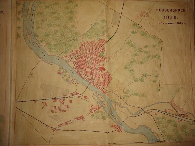 План Новосибирска в 1930 г.