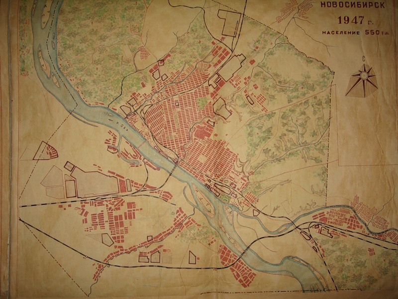 План Новосибирска в 1947 г.