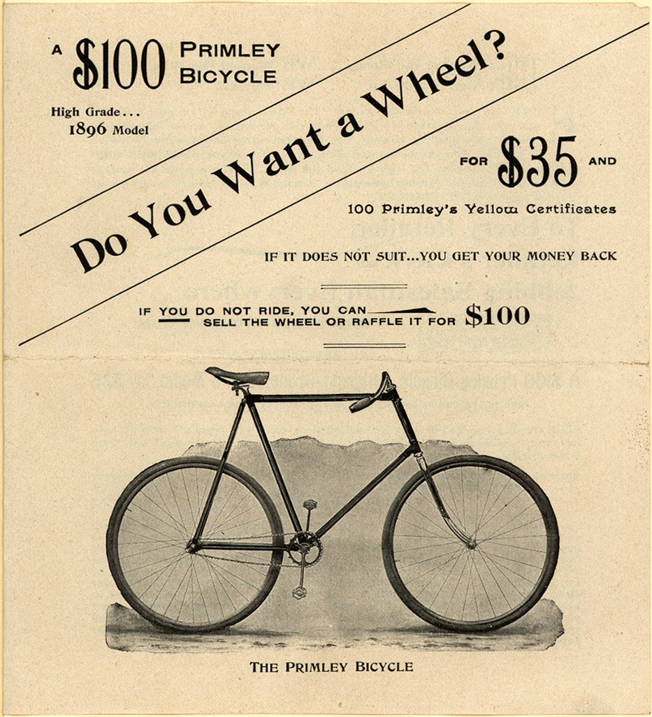 Primley Bicycle, Wrigley's Chewing Gums, 1896