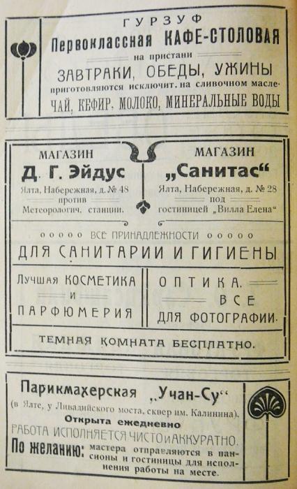 Магазин Д. Г. Эйдуса в Ялте. Парикмахерская Учан-Су