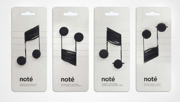 Дизайн упаковки для наушников Ноты