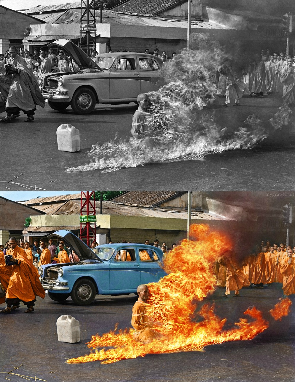 Thich Quang Duc was born in 1897 and was a Vietnamese Buddhist monk. He burned himself to death on a busy street in Saigon on June 11, 1963 as a protest against South Vietnam's persecution of Buddhists. ~ Photographed by Malcom Browne.