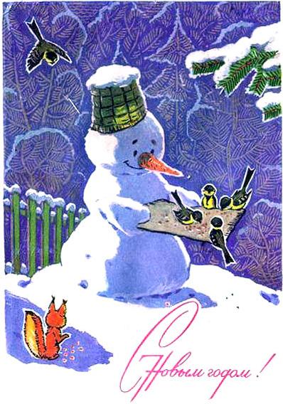 Снеговик кормит синичек