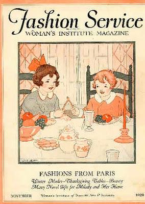Обложка женского журнала за 1928 год. Мальчик в красной рубашке, а девочка в голубом платье