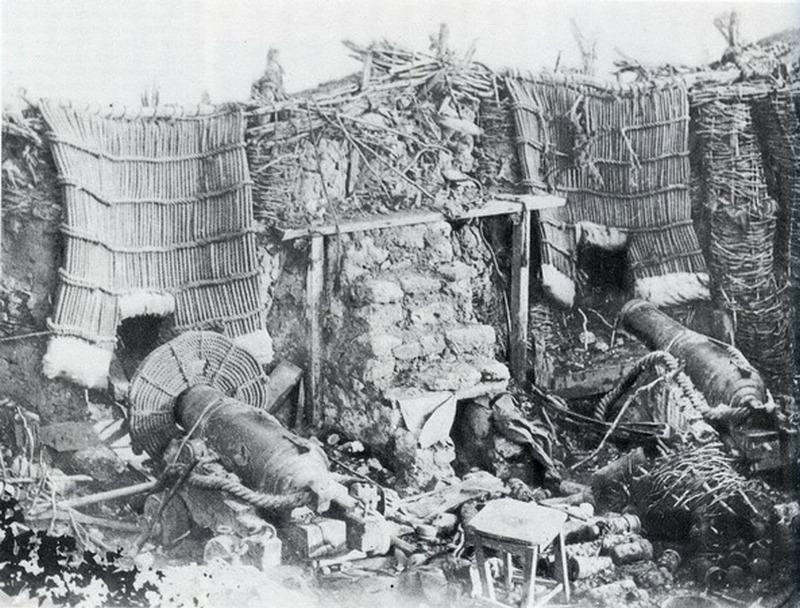 Русская батарея после бомбардировки