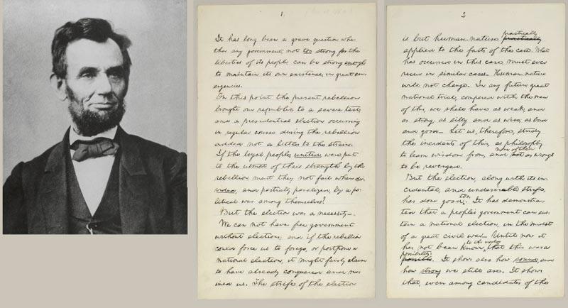рукописный оригинал речи Авраама Линкольна 1864 года