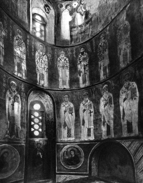 Фрески Спаса на Нередице церкви близ Новгорода. 1199 . Роспись алтарной части. Фото. 1930-е гг.