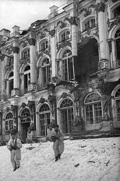 Вид разрушенного немцами Екатерининского дворца 1944 г.