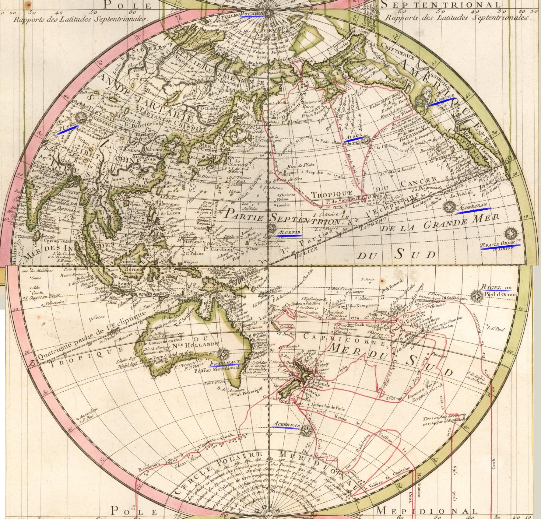 Рис 2. Тихоокеанское полушарие, составлено из двух четвертей Карты.