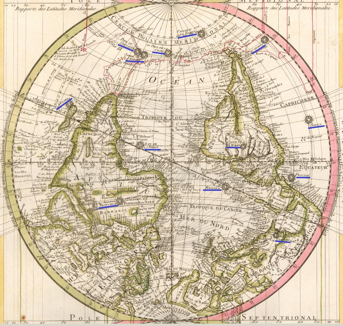 Рис 3. Атлантическое полушарие, перевернуто югом вверх.