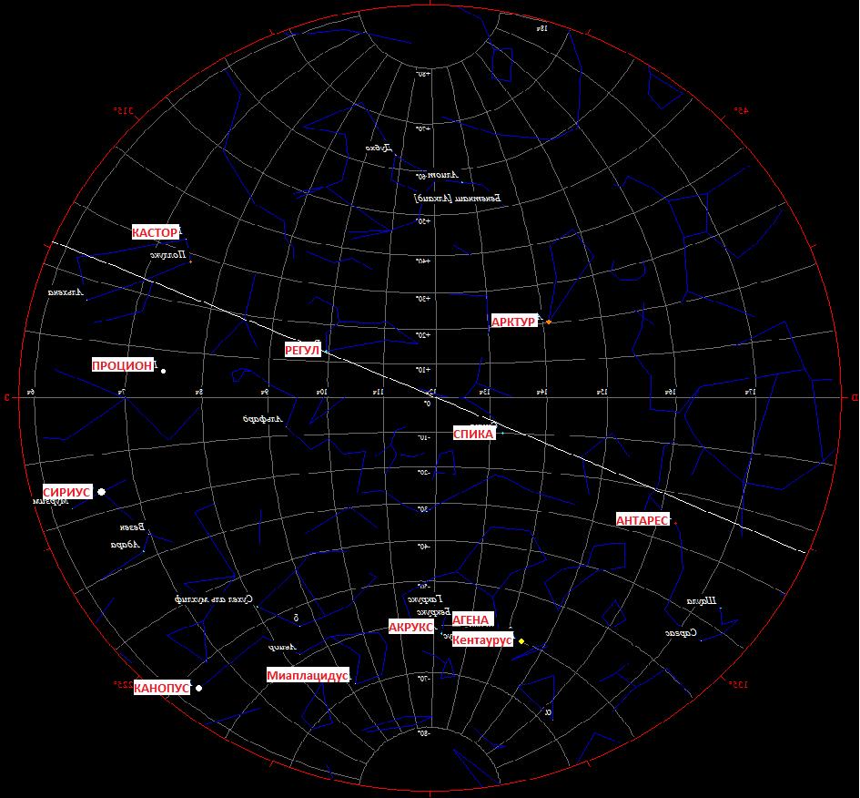 Скрин 3. 20 марта 1780 года в 00.00. Зеркальное отражение с указанием опорных звезд.