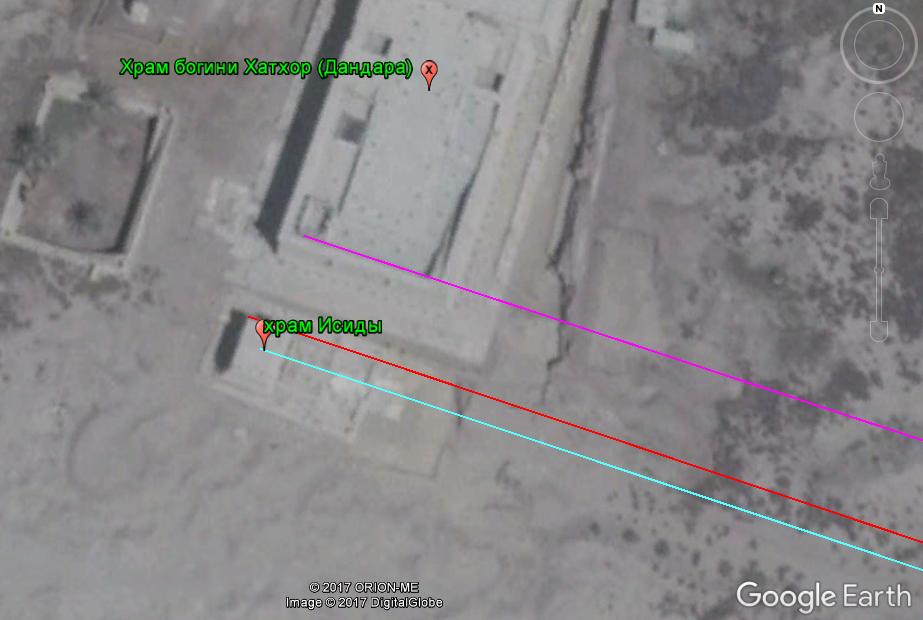 Рис 10. Ориентация храмов Хатхор и Исиды