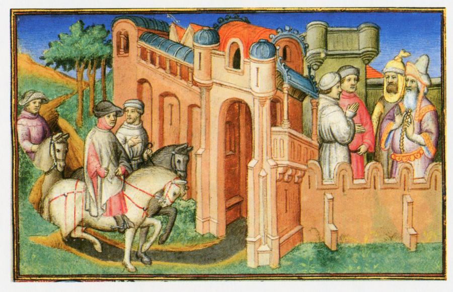 Рис.5. Николай и Матвей Поло у ворот Хана.