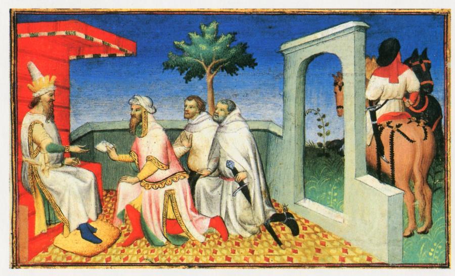 Рис.6. Великий Хан, принимающий письмо от папы.