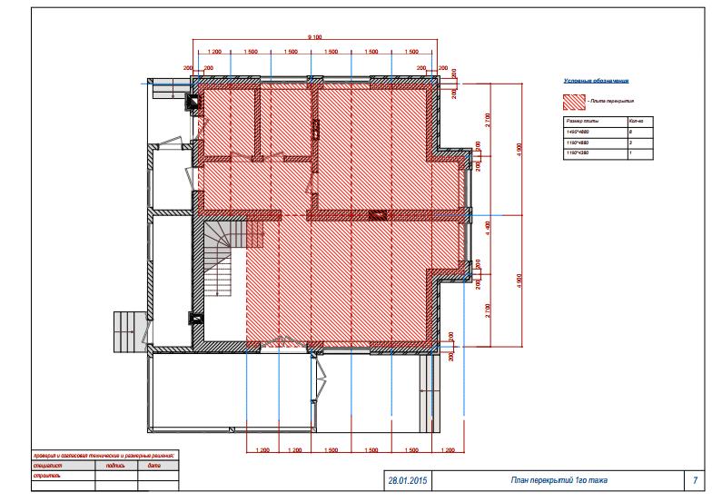 Малоэтажный жилой дом. План перекрытий