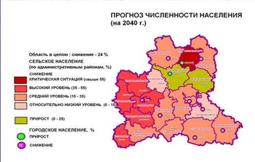 Карта-схема, иллюстрирующая прогноз на снижение численности населения области к 2040 г. Красным показаны области со снижением, зелёным - с приростом. Почувствуйте разницу