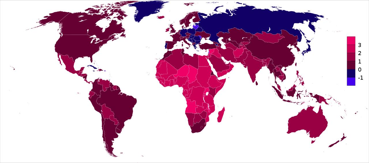 Карта стран мира по темпу роста населения в процентах с учётом рождаемости, смертности, иммиграции и эмиграции в 2018 году