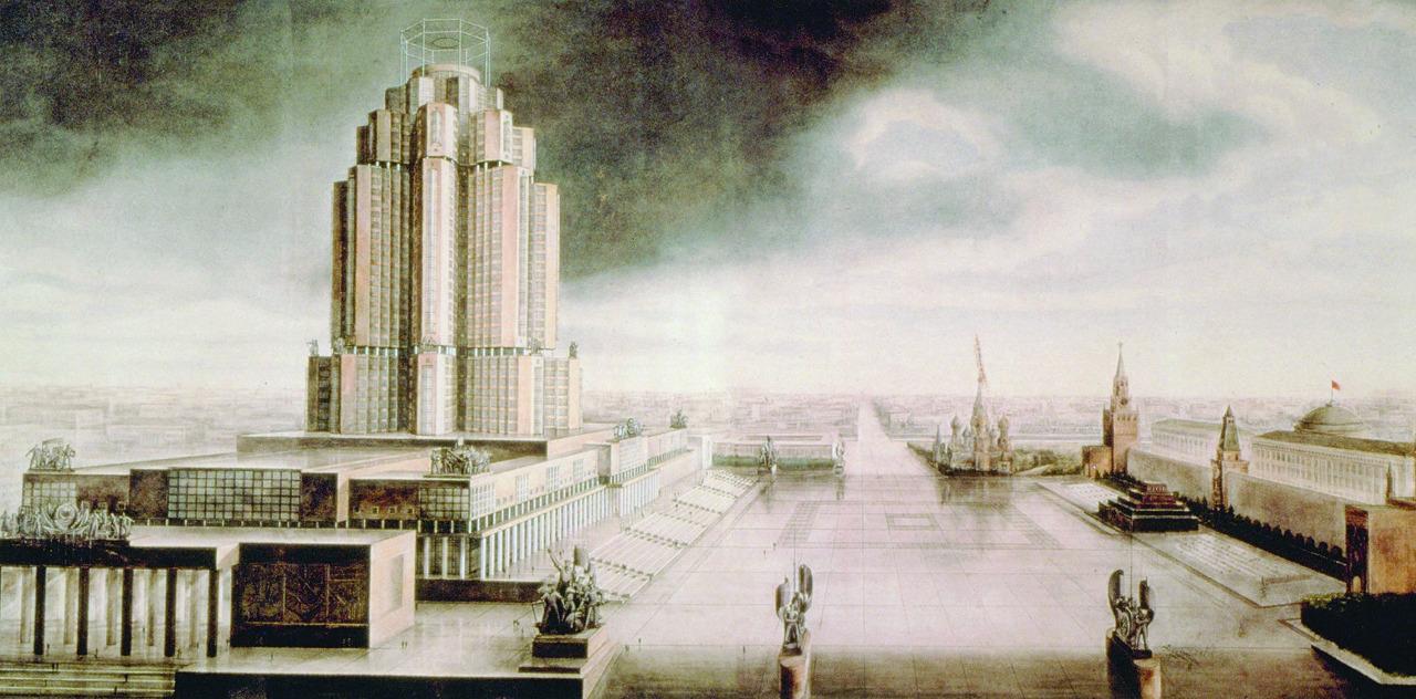 Проект здания Наркомата тяжелой промышленности. Архитекторы А.А. Веснин, В.А. Веснин, С.В. Лященко. 1934 год