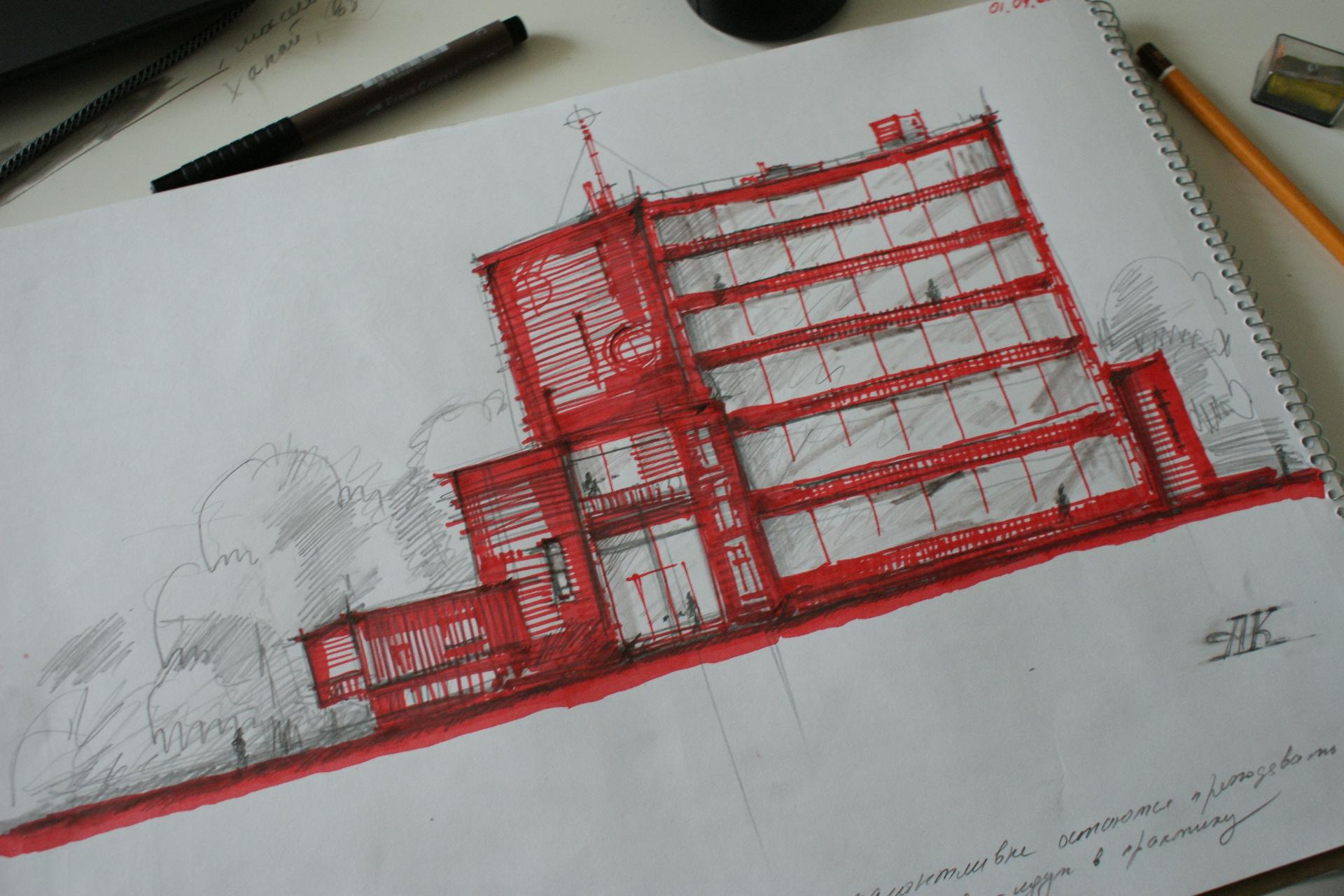 Энергоэффективный жилой дом средней этажности, выполненный из деревянных конструкций. Клаузура- поиск образного решения. Автор — Антон Коста