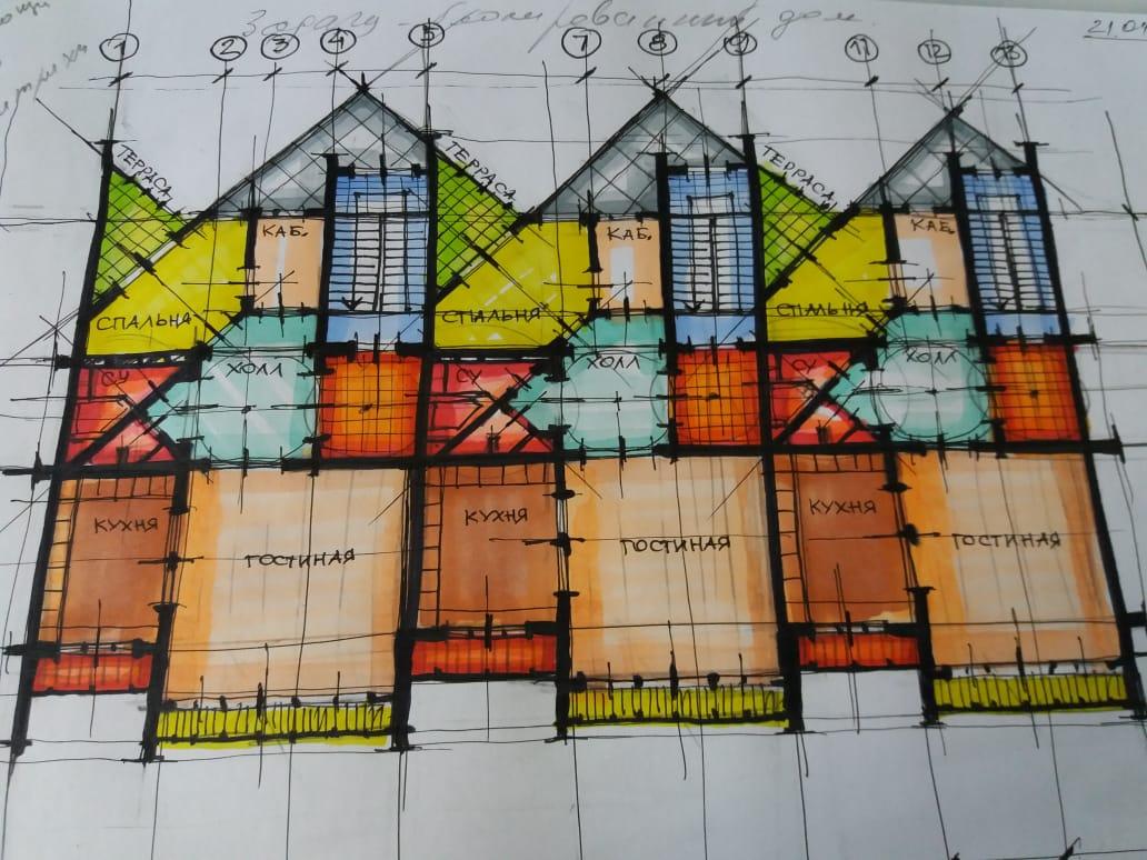Клаузура блокированного жилого дома средней этажности